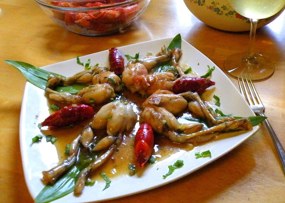 Frogs Legs and Crawdads with a Honey/Bourbon/Ramp Sauce