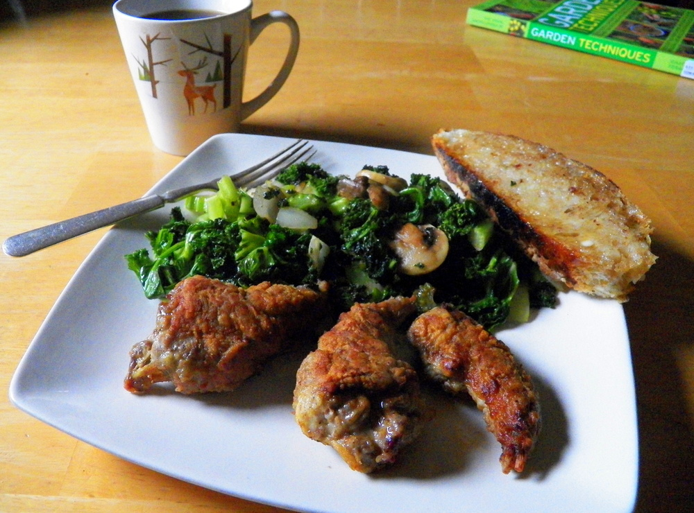 Breaded Squirrel and Greens