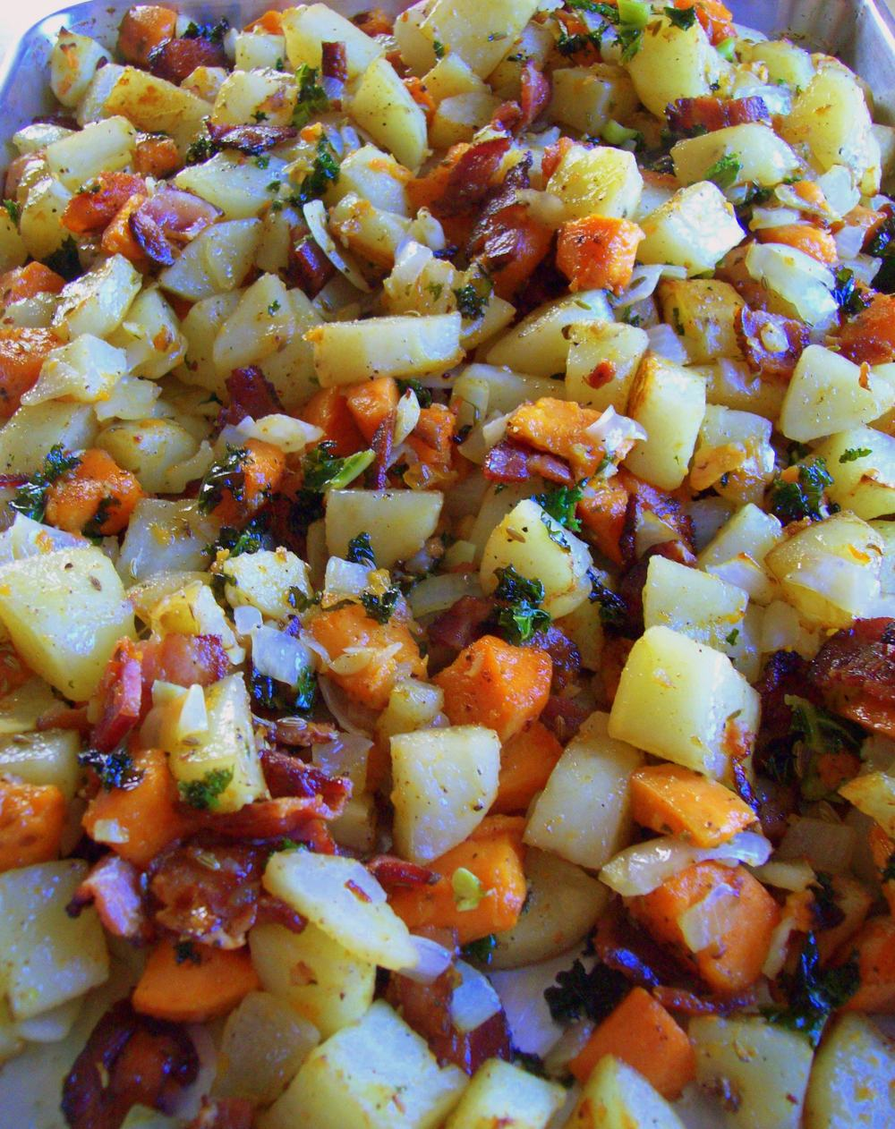 Potato Sweet Potato Hash w/ Kale