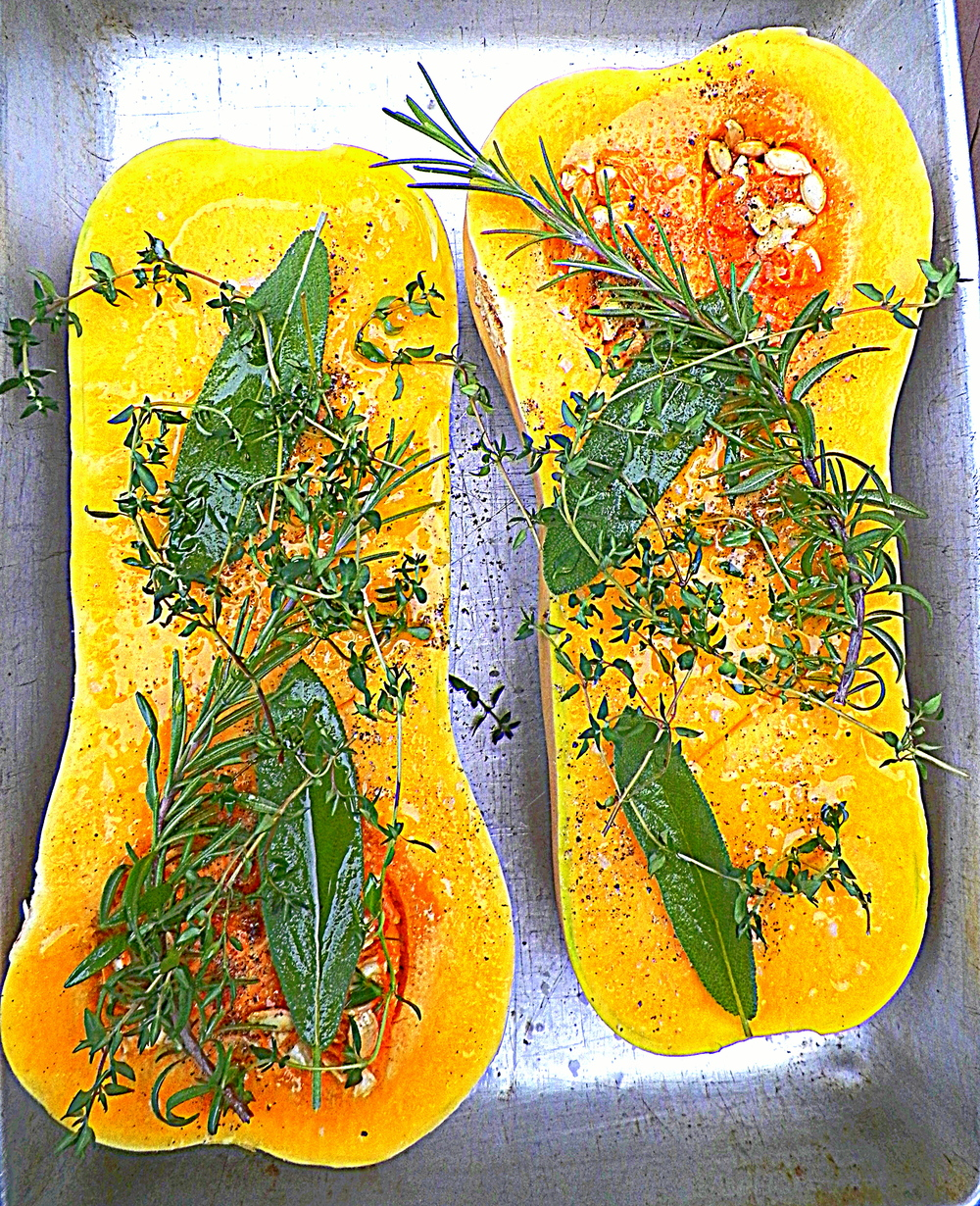 Butternut Squash herbed and oiled prior to roasting