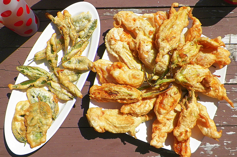 Battered & fried basil and sage (left) and zucchini blossoms (right)