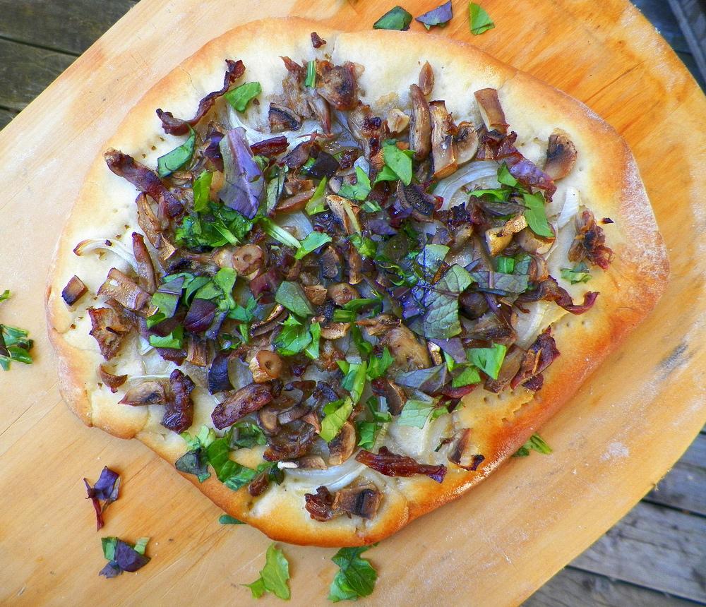 Squirrel & mushroom pizza.