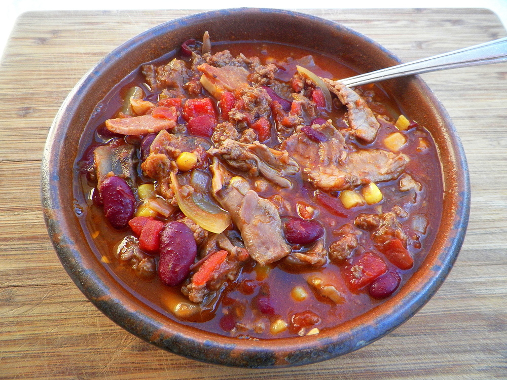 Squirrel and red wine chili