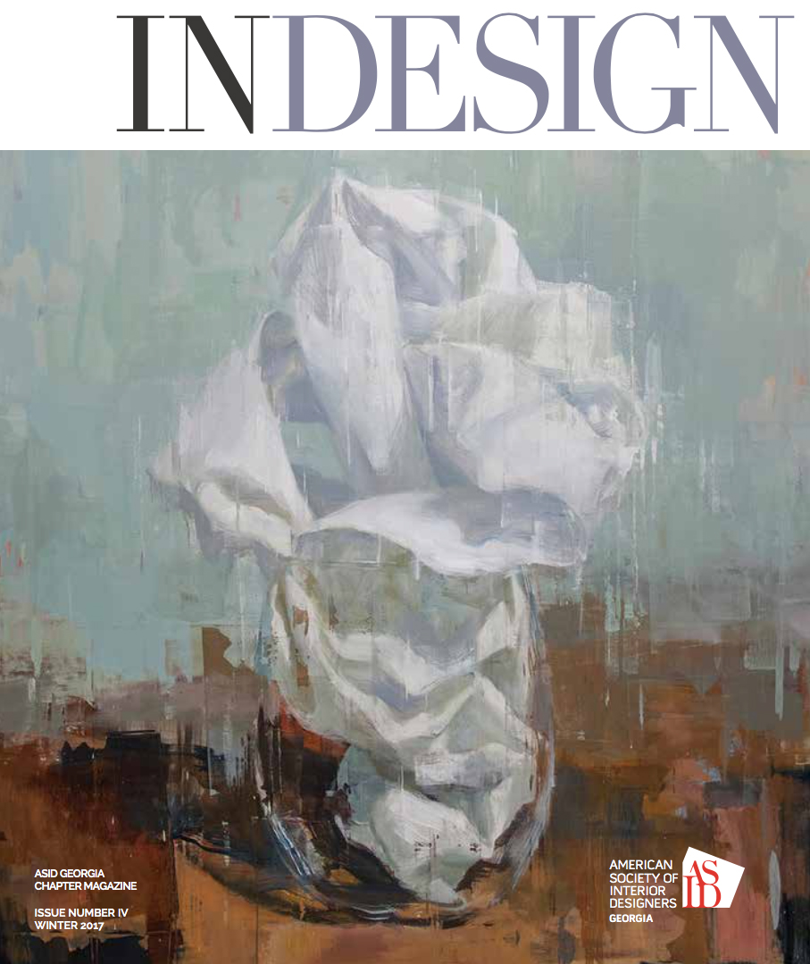 Glass Elegy No. 10, used for the cover of Indesign Magazine,Winter 2017/ GA. chapter. Courtesy of Pryor Fine Art, Atlanta