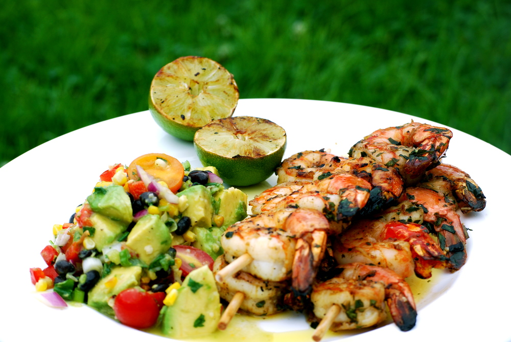 Grilled Shrimp Skewers & Guacamole Salad