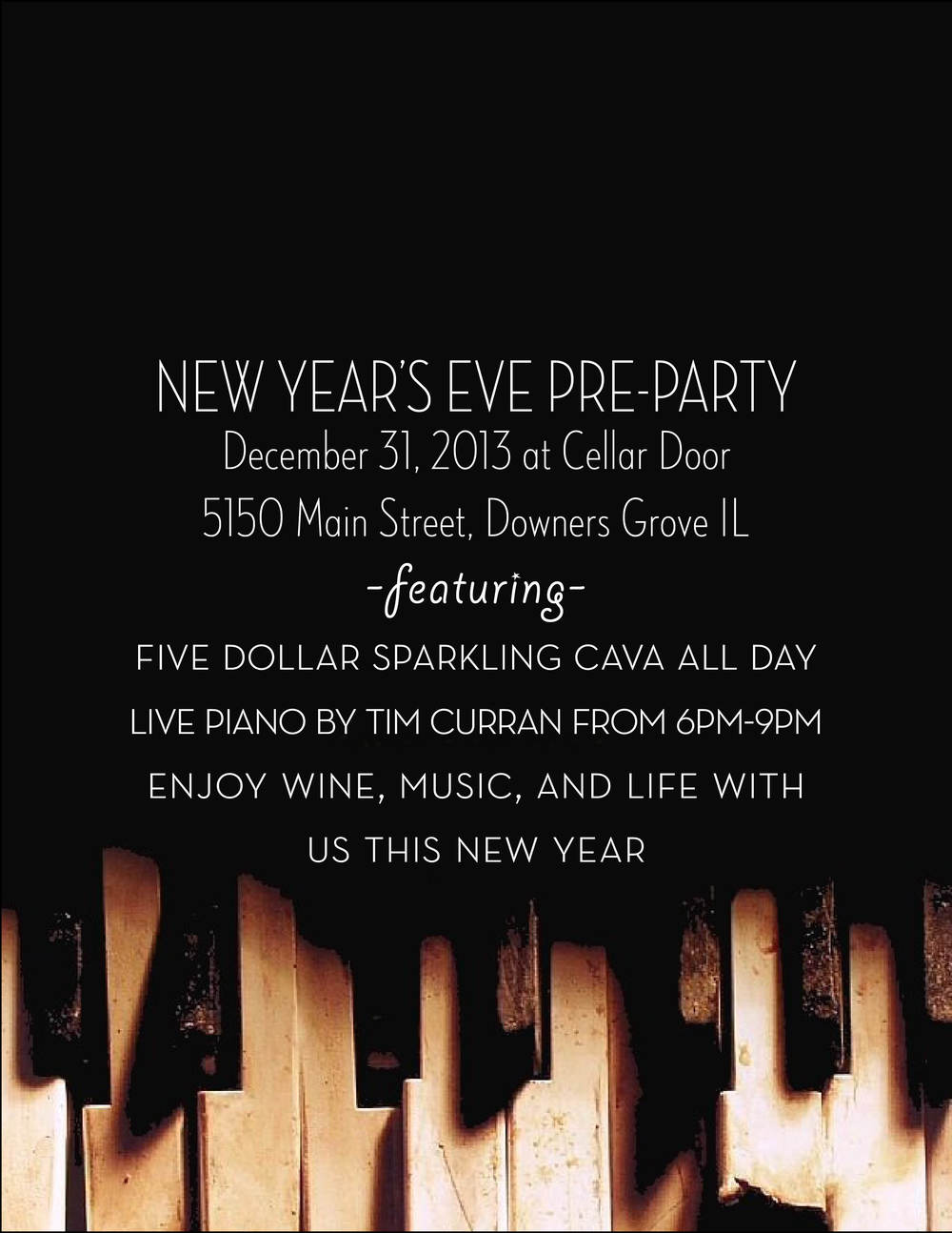 Cellar Door Wine Bar NYE Promo