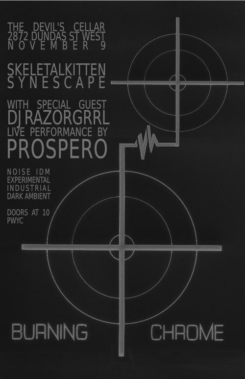 Event poster for Burning Chrome WSG Prospero & Razorgrrl