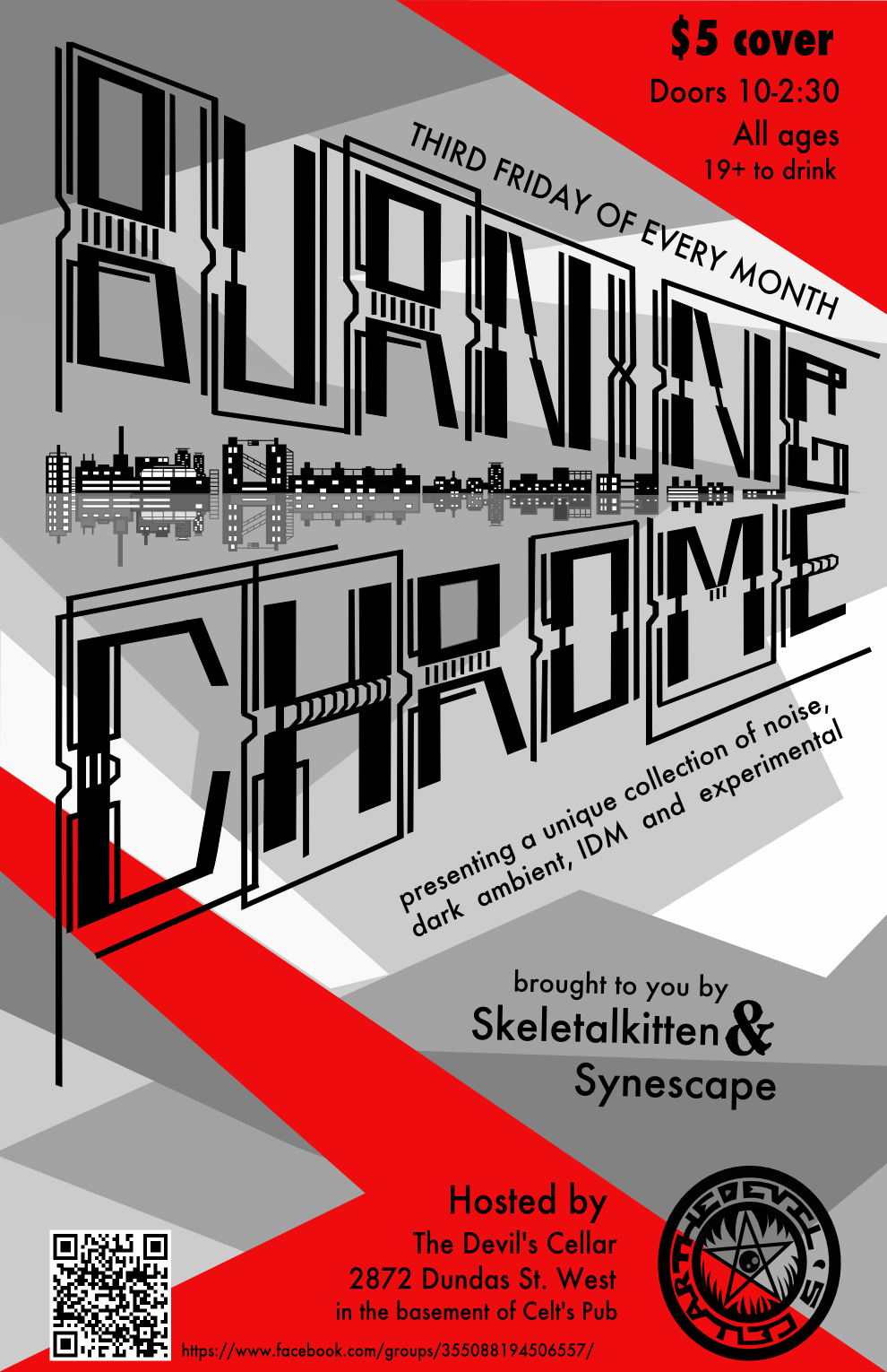 Event poster for Burning Chrome - a Toronto noise event with live DJs and bands