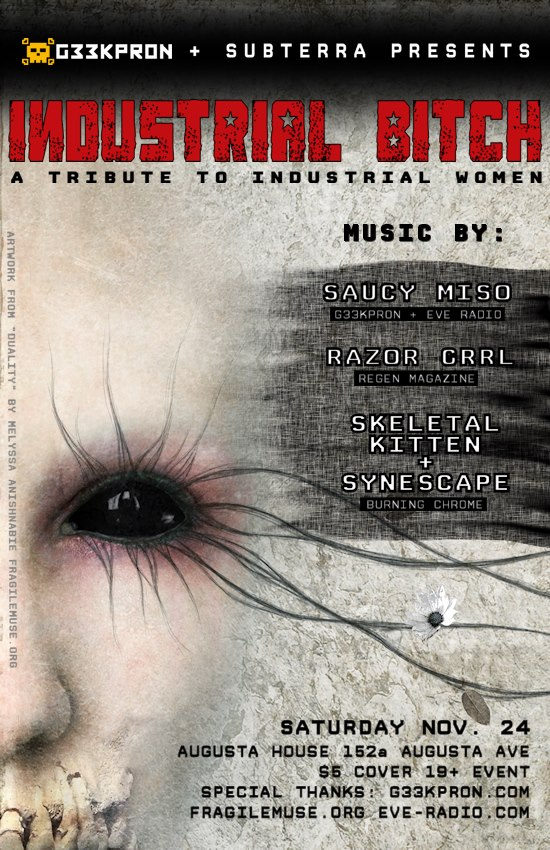 Artwork by Fragile Muse, event poster for Industrial Bitch feat. Razorgrrl Skeletalkitten & Synescape