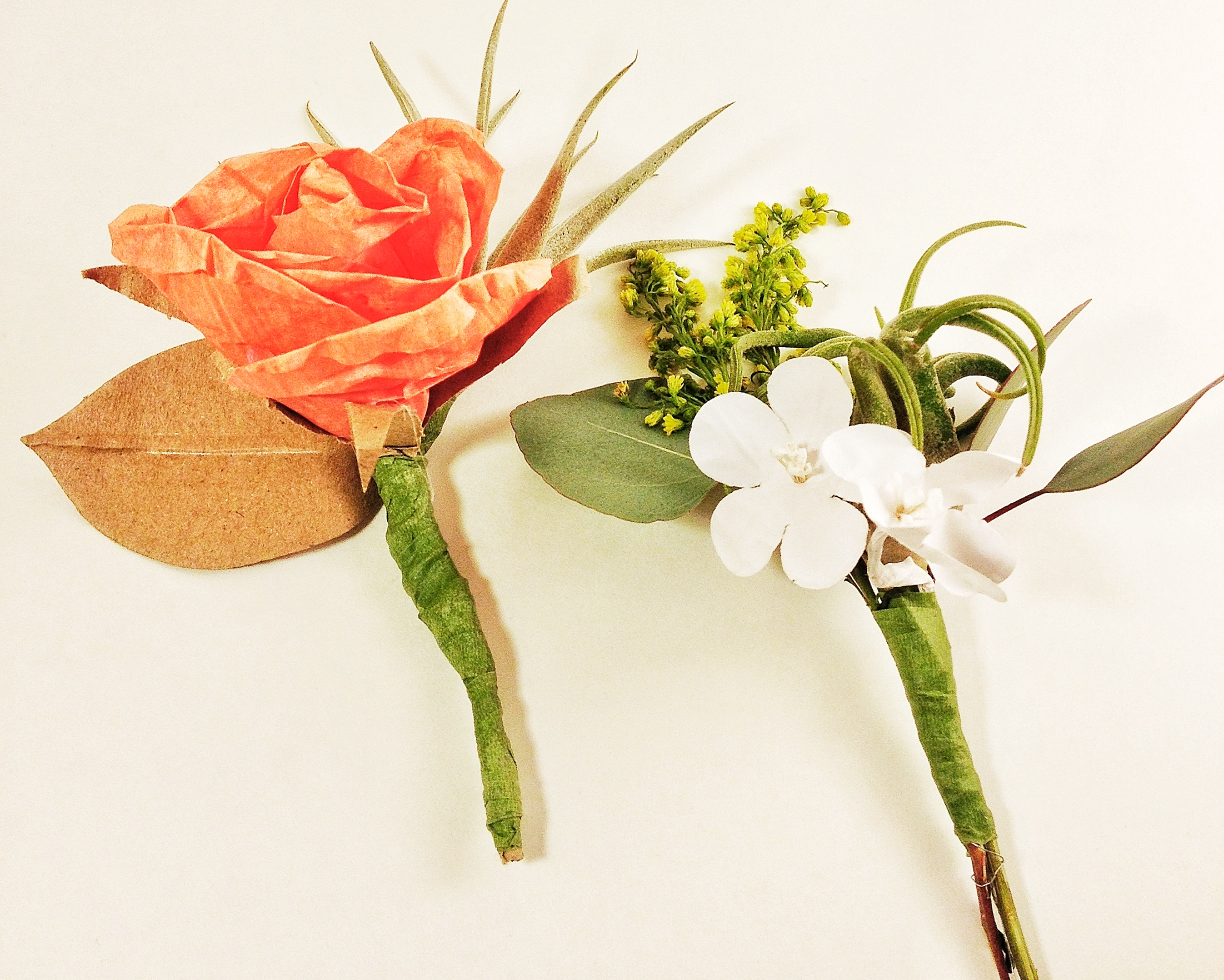 DIY air plant and paper flower boutonniere made at West Elm Spring Social in Chelsea #wespringsocial #westelm, hosted by Michelle Edgemont