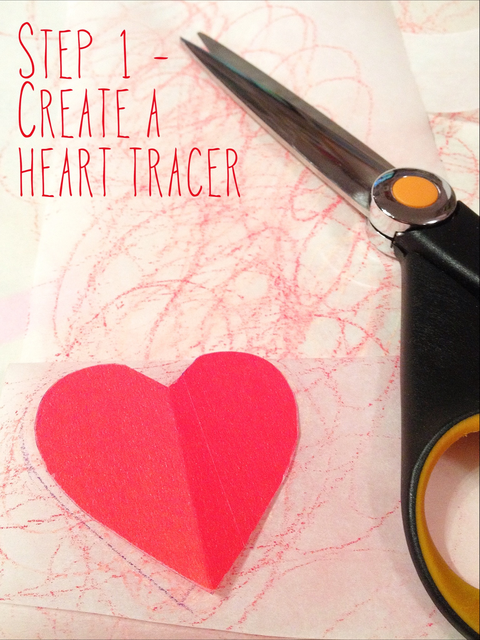 DIY heart garland step 1 - create a heart tracer