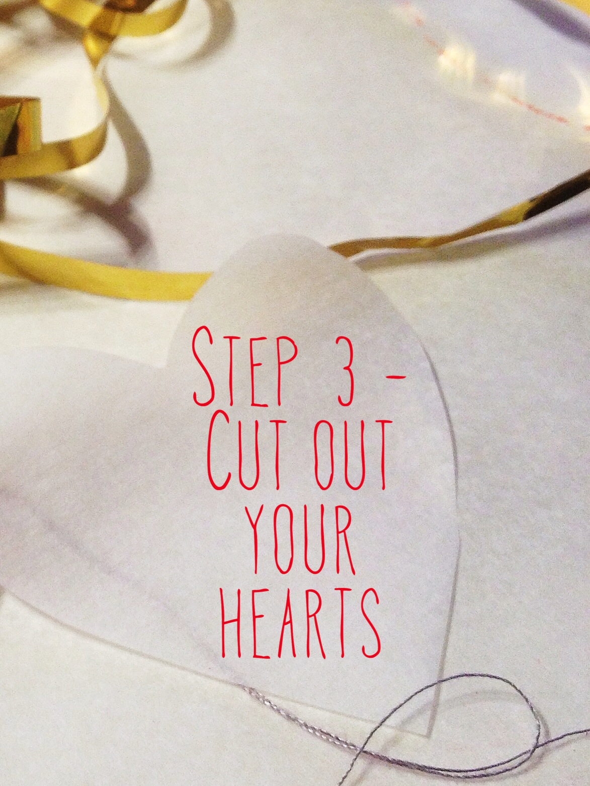 Step 3 - Cut out your hearts - DIY paper heart garland