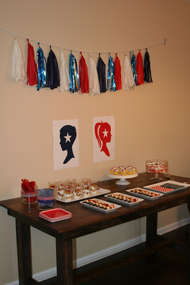 Tissue tassel garland by Sparkle Motion Decor - election themed gender reveal party