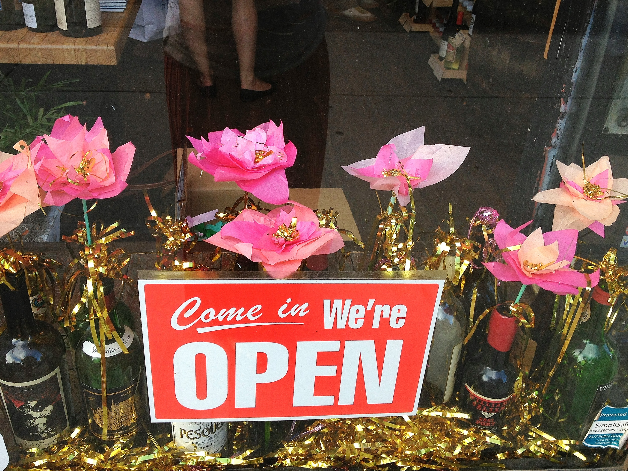 Sparkle Motion Decor window display - tissue paper flowers