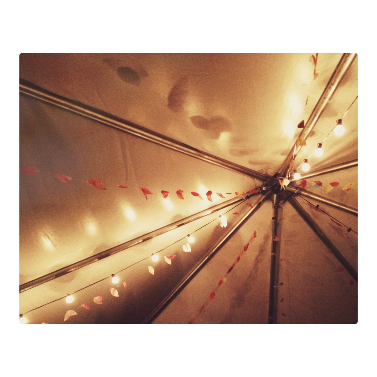 Market lights with wax paper leaf garlands by Sparkle Motion Decor