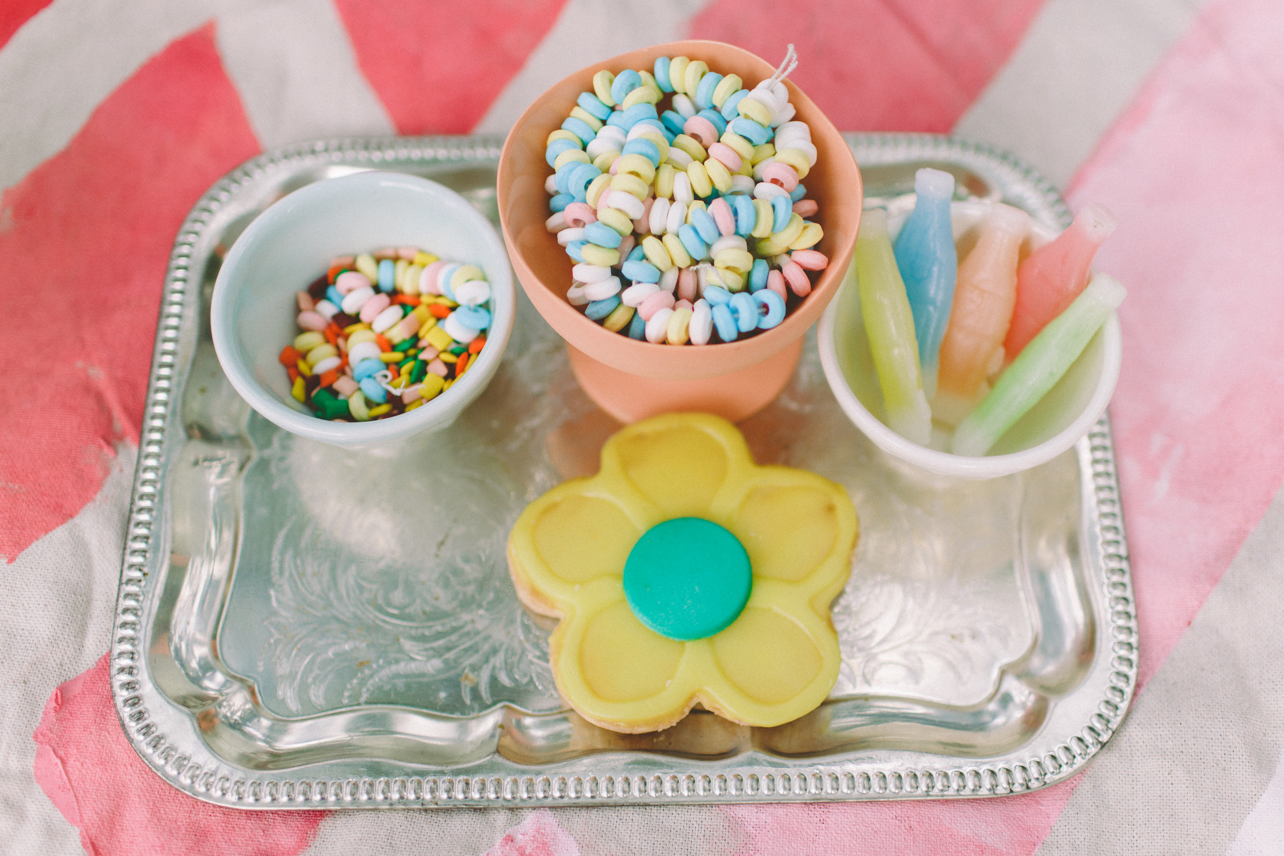 Days of Summer Wedding Inspiration - candy bowls / photo by With Love and Embers / decor by Sparkle Motion Decor