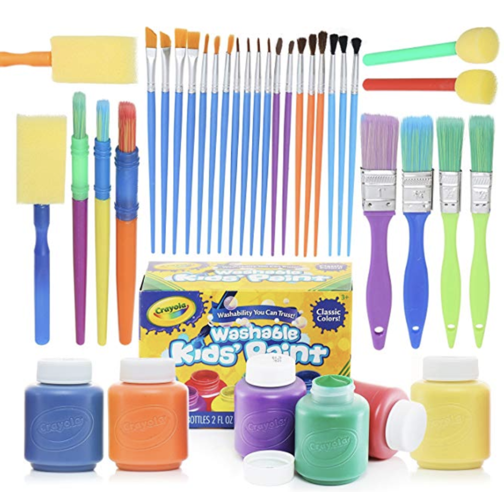 glokers Complete Set of 30 Paint Brushes Bundle with Crayola Washable Kid's Paint (6 Count) – Washable Kids Paints and Paintbrush Set - 2oz Assorted Bottles
