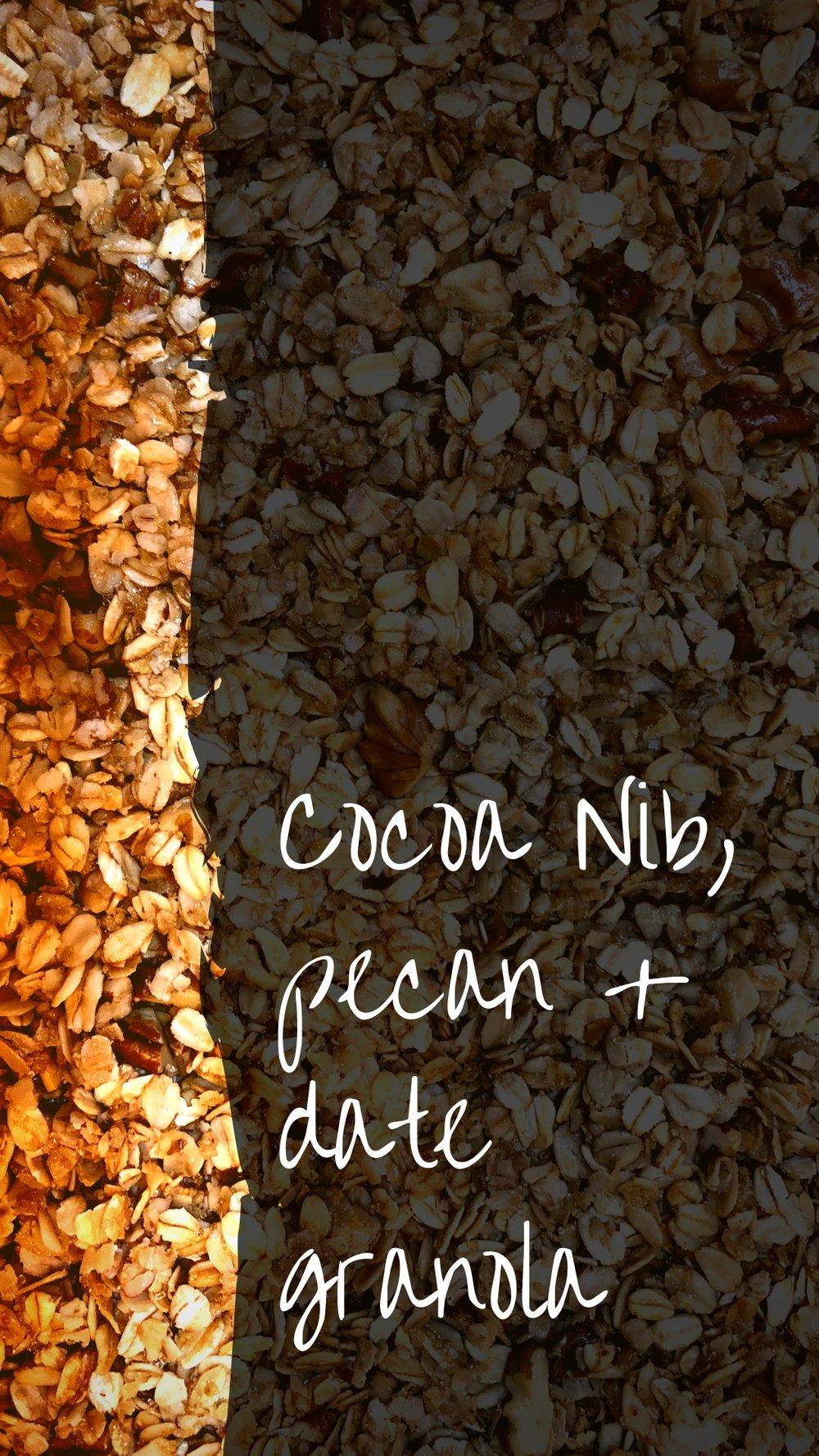 CocoaGranolaRecipe - Cocoa Nib, Pecan, Date, Avocado Oil Granola