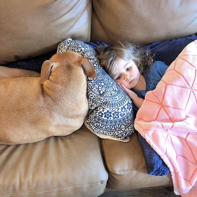 These two love to lounge ☺️ #girlandherdog #pittbullsandkids #pittbulllove