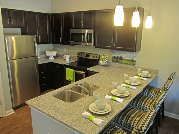 September 1, 2016 -  The model unit's kitchen is move-in ready.