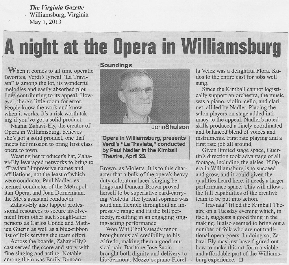 A review by John Shulson in the Virginia Gazette, May 1, 2013