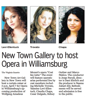 Promo for Cosi fan Tutte, April 2015, VA Gazette