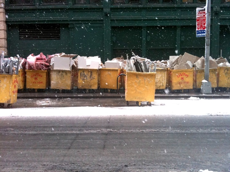 Yellow dumpsters in the snow, Chelsea.