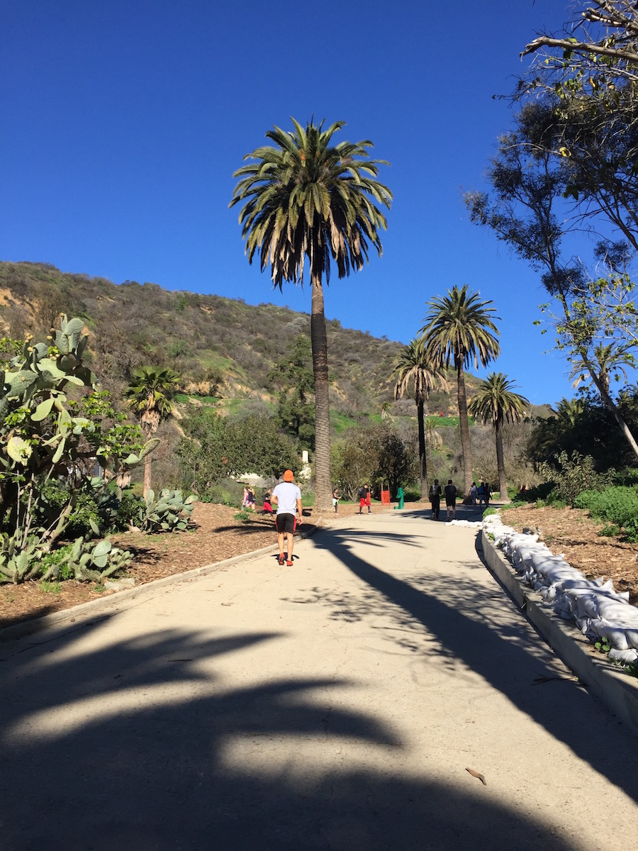 Starting a hike in Runyon Canyon Park.