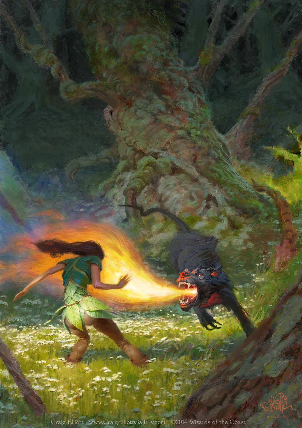 d amp d players handbook art   elf and hellhound craig