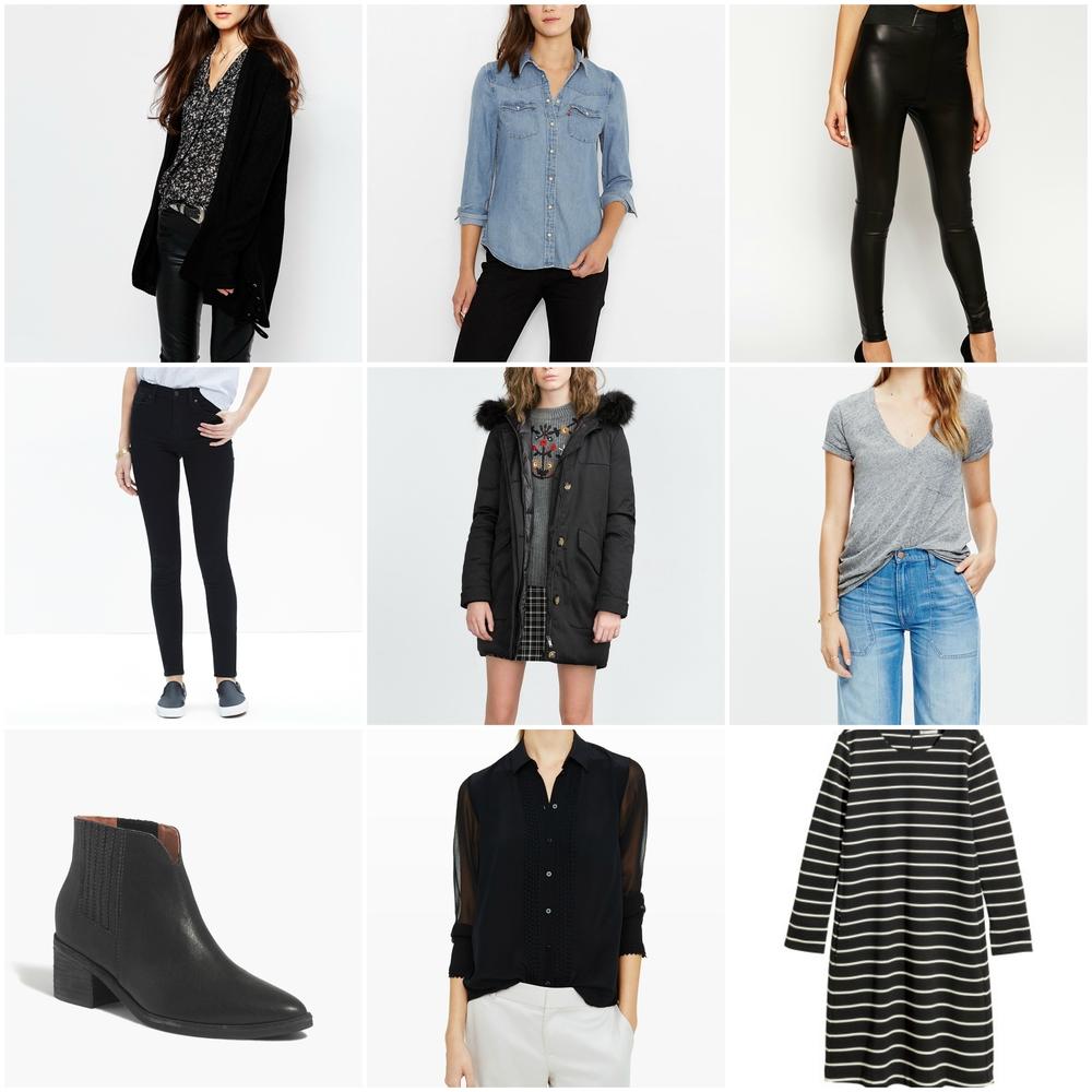ASOS Cardigan //  Levi's Denim Shirt //  ASOS leggings //  Madewell jeans //  Zara parka //  Madewell T-Shirt //  Madewell boots //  Club Monaco blouse  //  H&M basic dress