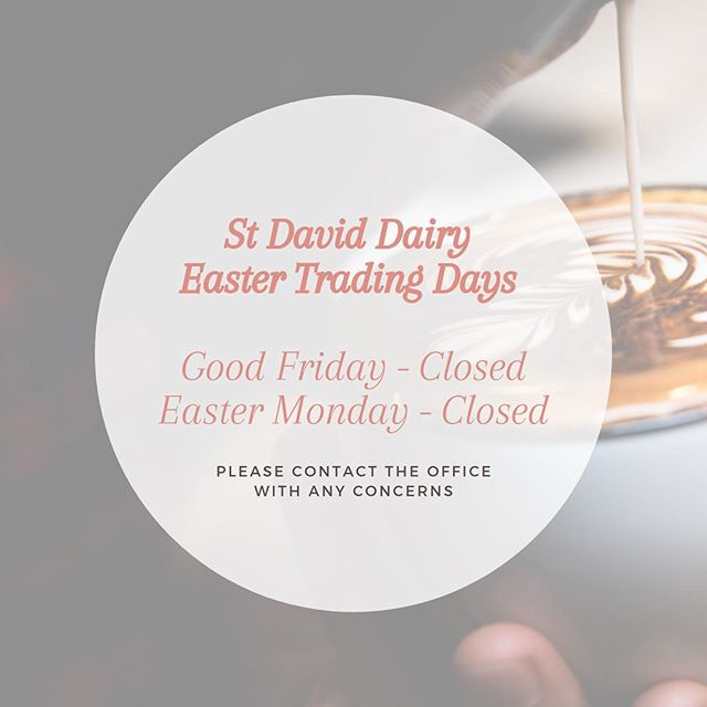 Wishing you all a Happy Easter. St David Dairy will be closed Good Friday & Easter Monday 🐰🐰 stdaviddairy #HappyEastet #coffee #melbournecoffee #baristalife #latteart #melbournecafes #melbournecoffeeculture #melbournerestaurants #melbourneeats #melbournefood #melbournemilk #realmilkreallocal #microdairy #moo #moojuice  #fitzroy #legendairy #livingthecream#ihaveacream #goodvibesonly✌