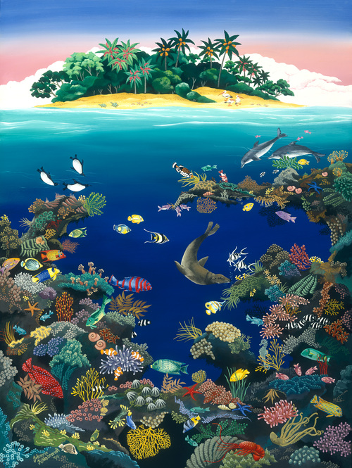 REEF FANTASY   Here is the amazing, stunning world of  the coral reef and all its colourful life around it. The uplifting shades of the deep blue ocean, busy with fish and underwater creatures will rejuvenate your every-day life. Treat yourself or a friend to this image, which is one of my most treasured pictures.  Limited edition of 500, signed and numbered. Printed on archival paper. Image size: 58cm x 43cm.