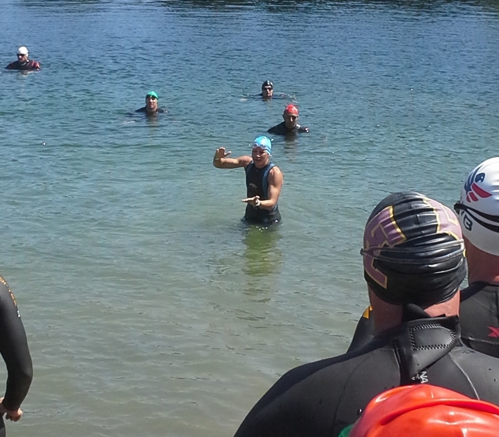 Open water swim clinic at the Team RWB Triathlon camp for military veterans. (Austin TX )