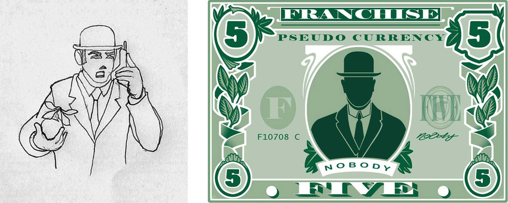 Concept for the five dollar man. Magritte and such. As well as the first five dollar bill design.