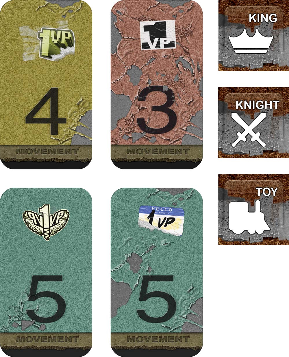 Movement cards and player tokens.
