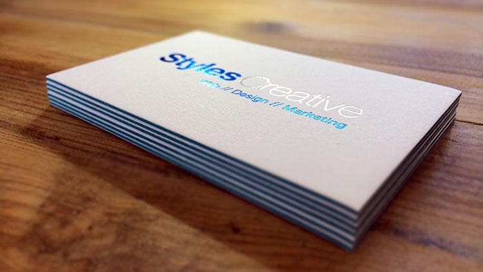 Stack of letterpress business cards