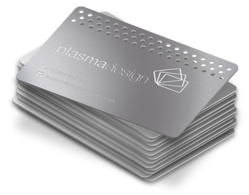 A stack of metal cards