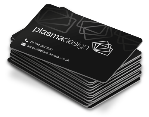 Plastic business cards plasmadesign a stack of satin black plastic cards colourmoves