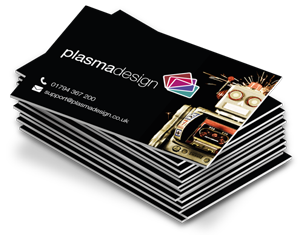 Icon depicting a stack of matt laminated paper cards, printed in full colour on both sides