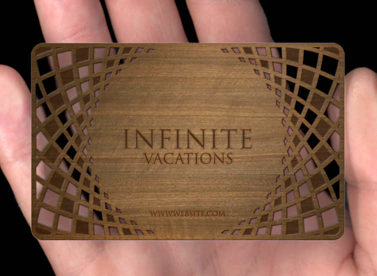 Wood business cards plasmadesign our luxurious 3mm thick wood cards bring together laser cutting and the natural beauty of wood reheart Choice Image