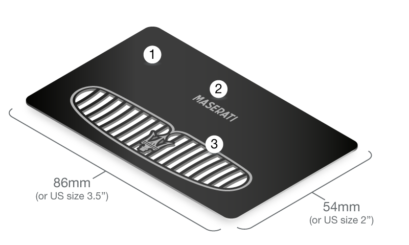 A schematic illustration, shown in isometric perspective, that details some of the design features unique to the black metal cards. These include etching and precision cut-throughs. The maximum dimensions of 86mm by 54mm are also shown.