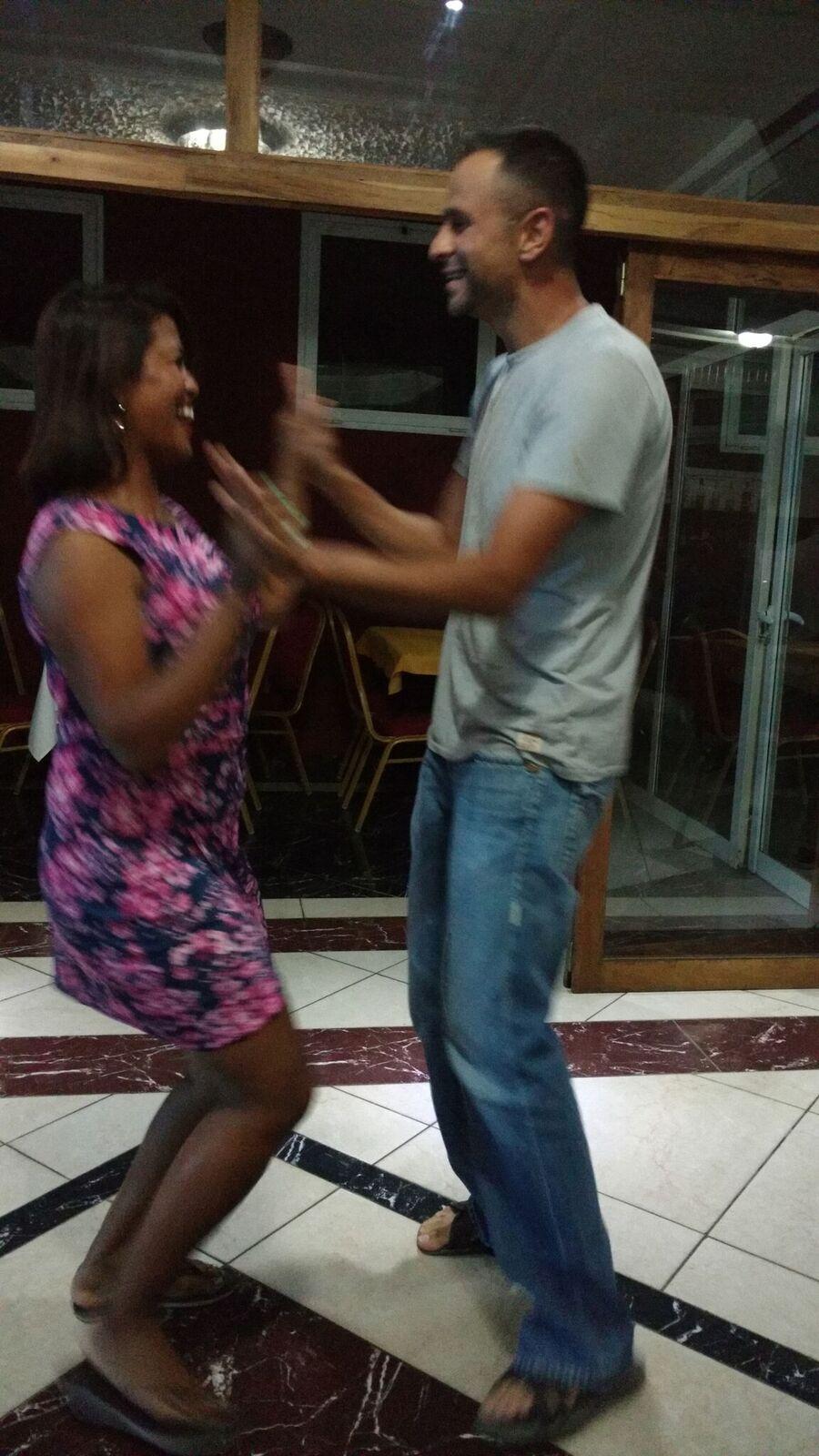Teaching Zee how to dance