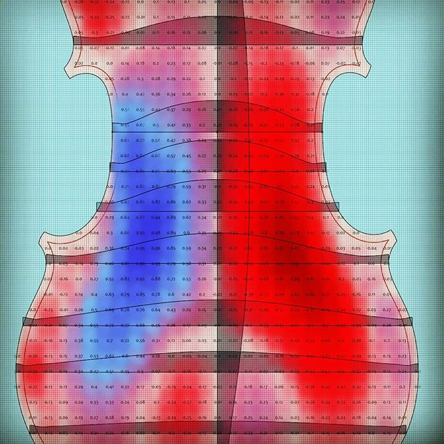 "Analysis comparing nearly three hundred years of back arching distortion to a ""corrected"" symmetrical version of the same arch. Who can guess where the sound post is? . . #stradivarius #violin #graphic #analysis #arching #maple #time #correctionalfacility #soundpost #3d"