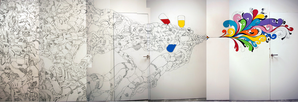 Primary Mechanics, Lazerian Studio, Manchester-2009. Paint Marker and Emulsion Paint