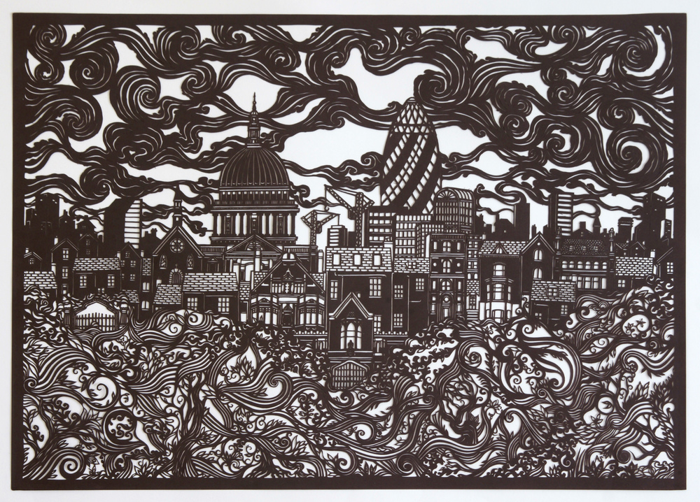 London Cityscape  Hand cut, 160gsm paper