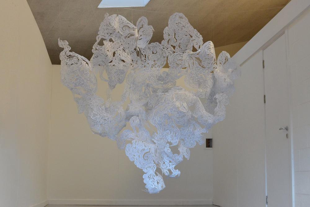 Collective installation works - Andy Singleton and year 10 art students atYsgol Brynhyfryd, Wales.