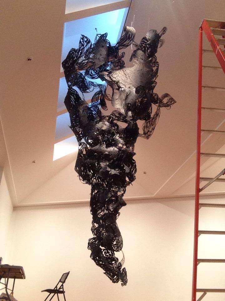 Installation in progress at the Joseloff Gallery