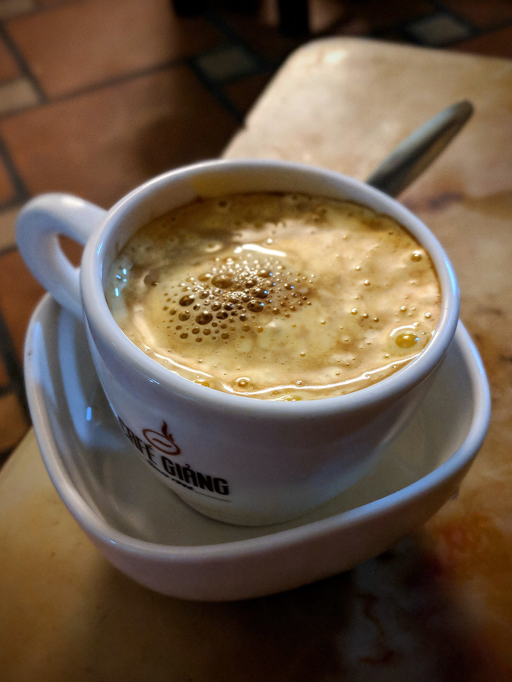 Heavenly Egg Coffee- espresso topped with whipped egg + sugar (tastes like the creamiest marshmallow whip!) at Cafe Giảng