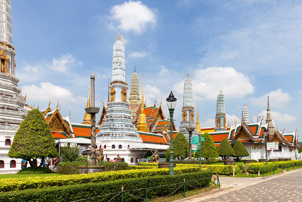 Phra Asadha Maha Chedi, eight towers dedicated to different pillars of Buddhism, inside the Grand Palace