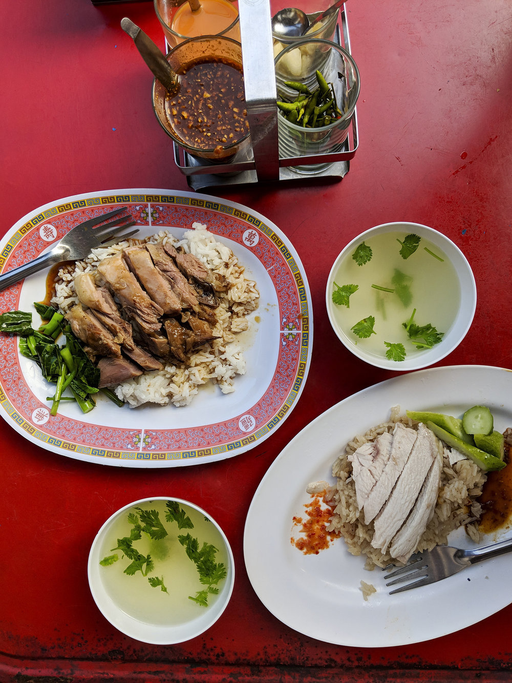 delicious street food- pork or chicken over rice